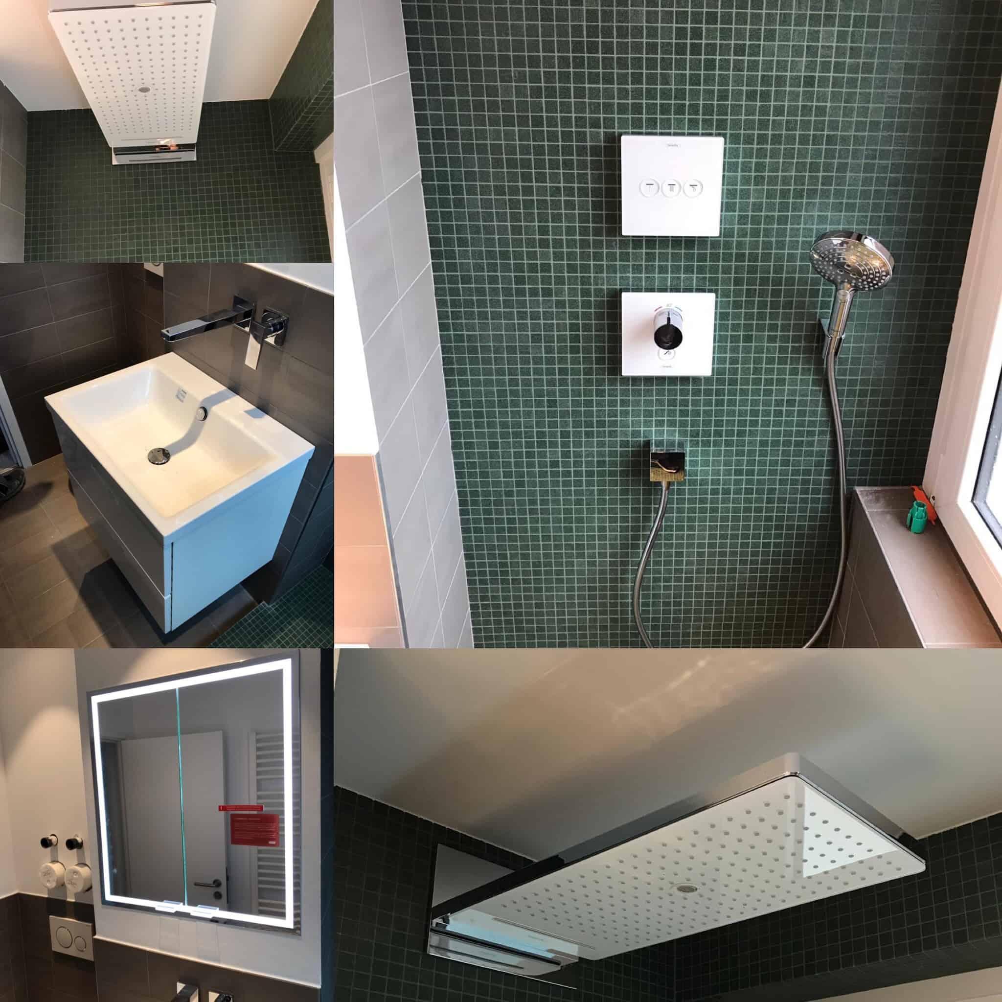 Kleines aber feines Duschbad im Nordend / Frankfurt. Durch das ersetzen der Badewanne, konnte ein großzügiger Duschbereich herstellt werden. In den bestehende Installationsschacht, konnte ein Spiegelschrank integriert werden und ein platzsparenden Waschplatz.